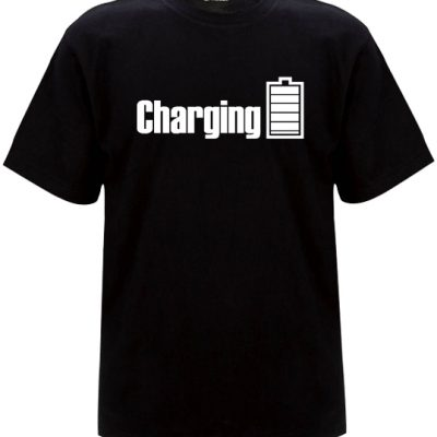 Mens Charging t-sirt with white print on a black t-shirt