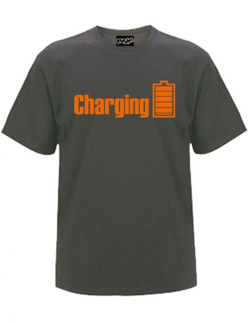 Charging shirt with the ordage print on a charcoal coloured t-shirt
