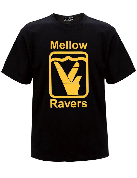 Old skool black mellow ravers t-shirt