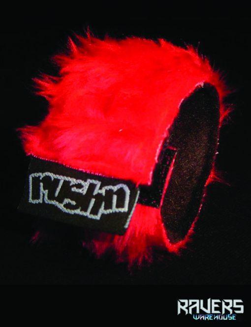 wrist band fluffy red