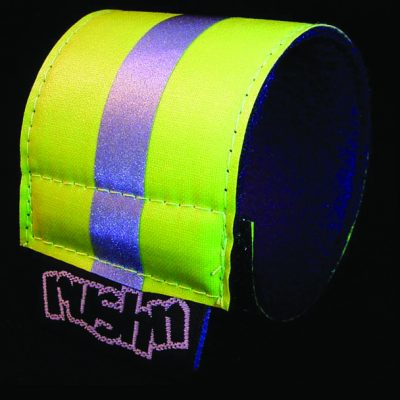 wrist band reflective yellow silver
