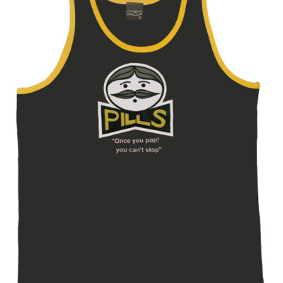 pills-Unisex-singlet-Black-yellow